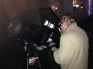 Janne med sin Celestron 9,25 tum en trevlig kväll i Tyresö